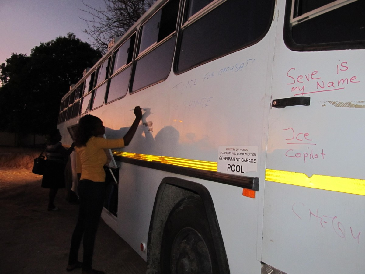 Night bus shortly before departure to the official annual Ministry of Education sport event in Windhoek. We must somehow have gotten the permanent markers, whoops.