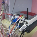 our temporary server room with a more temporary installation