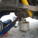 Jason draining the back differential, Hilux 5000Km Service, X-treme Car Repairs, Ongwediva