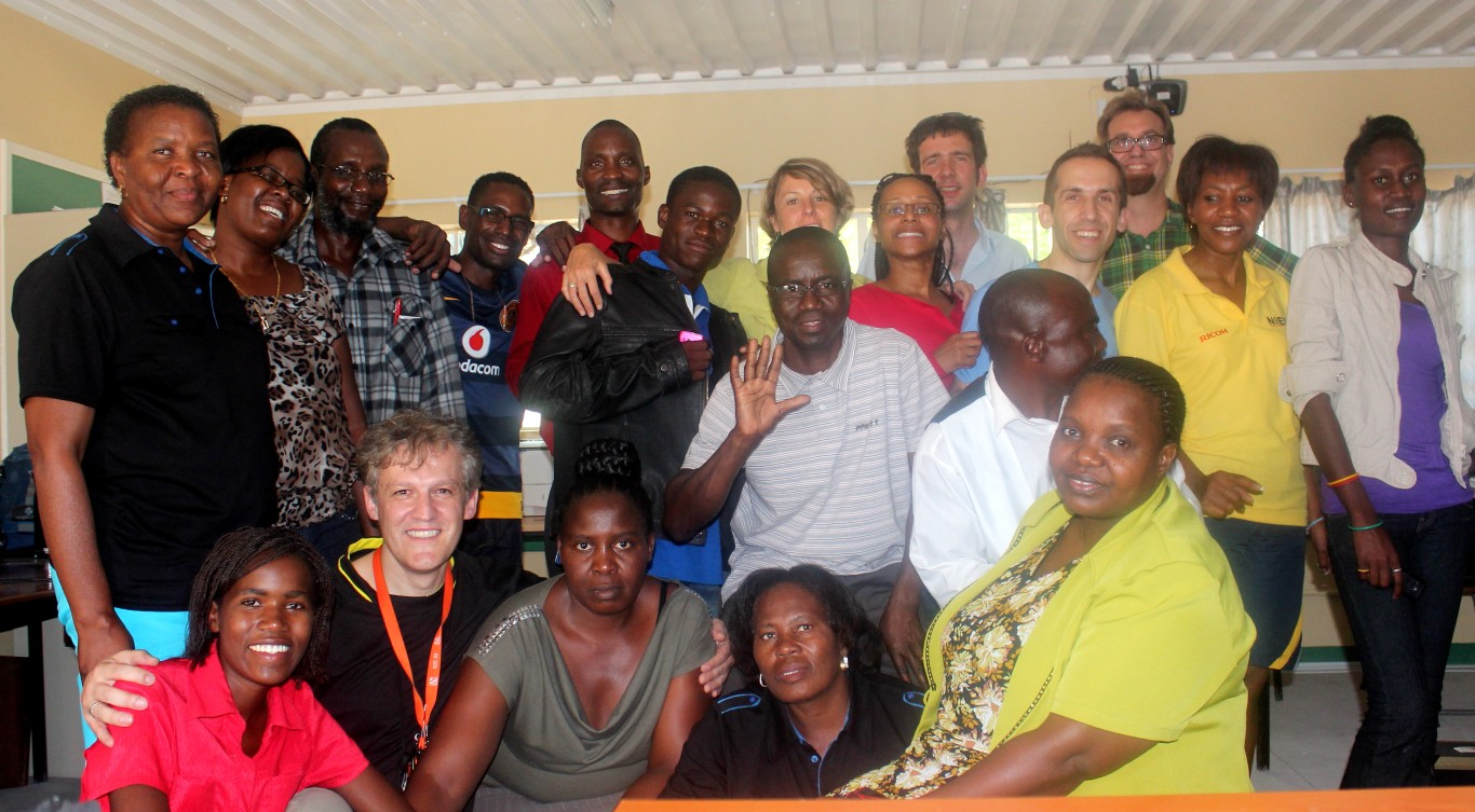 Teachers, INTEL Service Corps members and Head Office staff at Ondjora CS, Oshana Region.