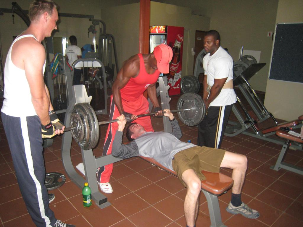 Drill instructor Mathew pushing the author to the limits:-), YAP Gym, Ongwediva