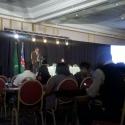 Johan van Wyk explaining the SchoolLink deployment, Safari Court Hotel Windhoek